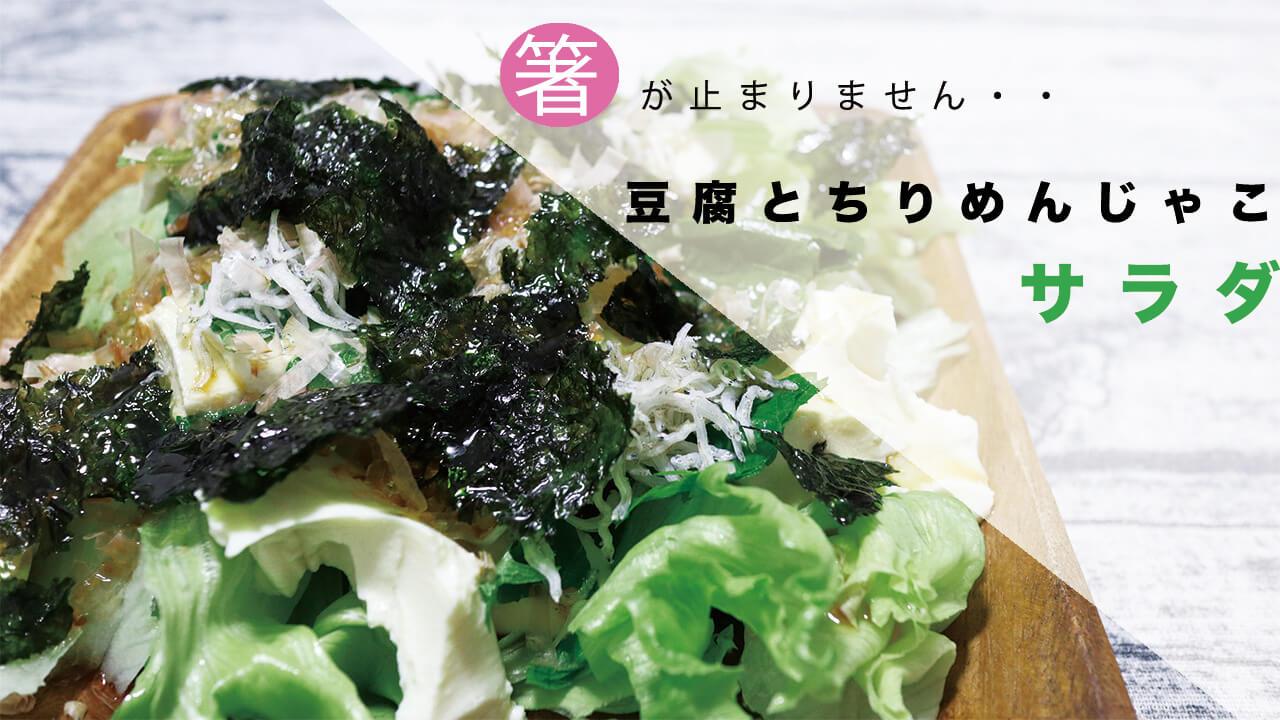 【包丁不要!】豆腐とちりめんじゃことシソ(大葉)の居酒屋風サラダのレシピを紹介!