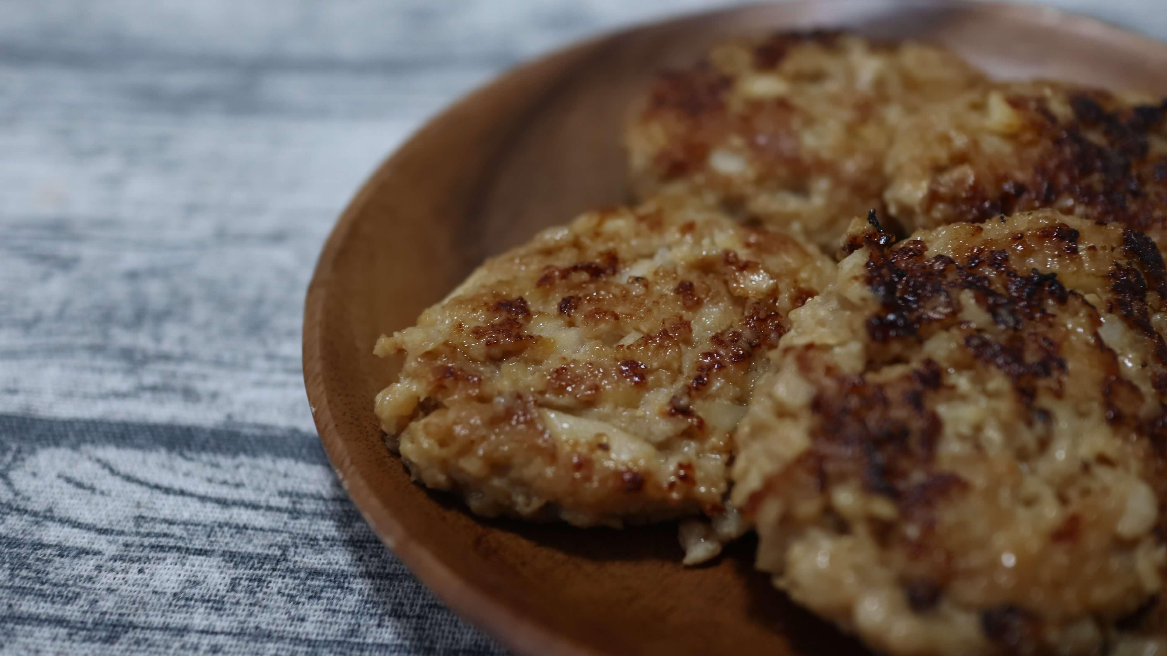 レンコンと鶏ひき肉の落とし焼きハンバーグの完成